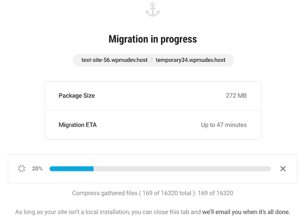 A look at the brand new and improved Shipper migration in progress screen