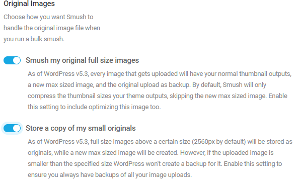 Screenshot of the settings for smushing original images.