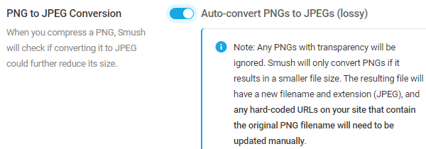 Screenshot of the pngs to jpegs button