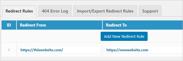 301 Redirects screen.