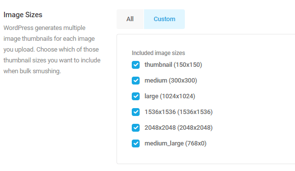 Screenshot of the various image sizes you can exclude.