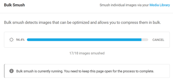 Screenshot of a smush in process showing it at 94%.
