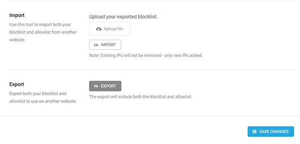 Where you can import and export blocklist and allowlist.