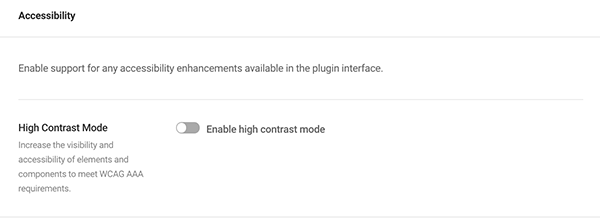 Where you enable high contrast mode in the accessibility area.