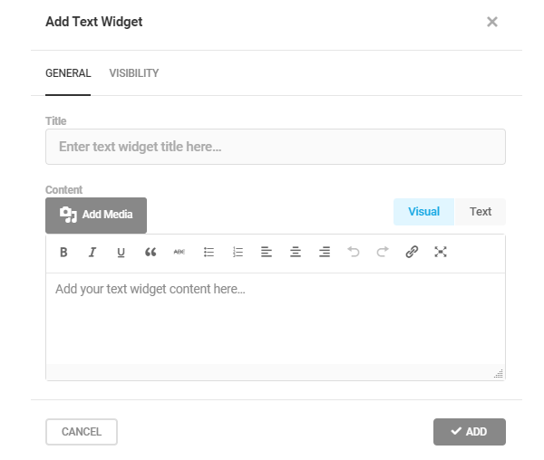 Screenshot of the option where you can add a text widget