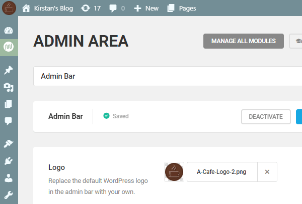 Screenshot of the admin area with a custom logo of a coffee cup