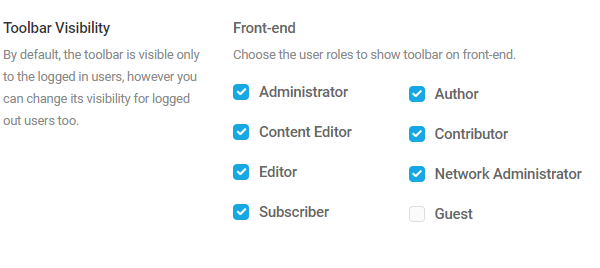Screenshot of the admin bar permission checkboxes.