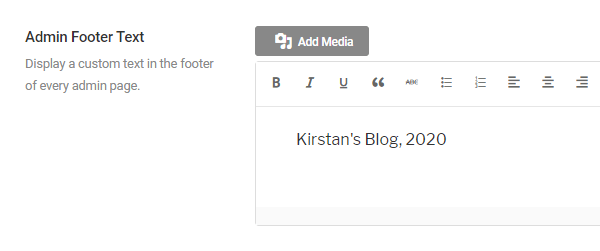 Screenshot of the box where you can add your pwn admin footer text which holds the text Kirstan's Blog 2020