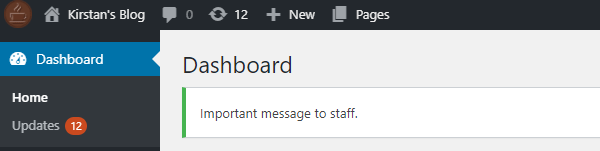 "Screenshot of an admin message reading ""Important message to staff"""