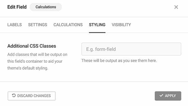 Additional CSS classes for calculations.