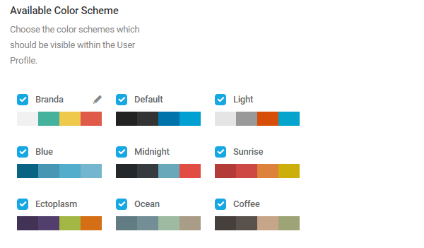 Screenshot of the preset color schemes which come with Branda.