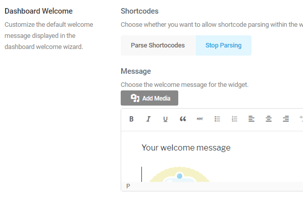 Screenshot of the dashboard welcome widget feature