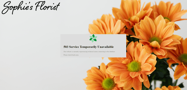 Screenshot of a custom 503 error page using an image of orange flowers.