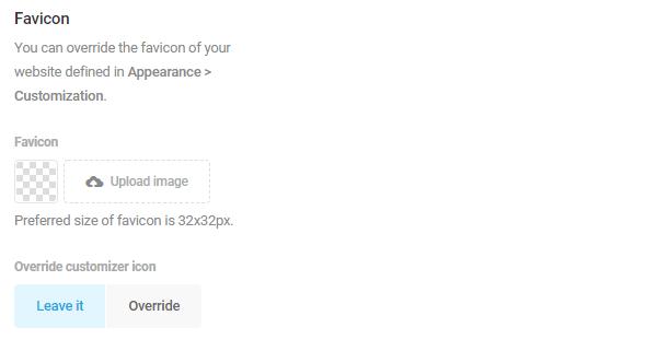 Screenshot of the favicon upload option