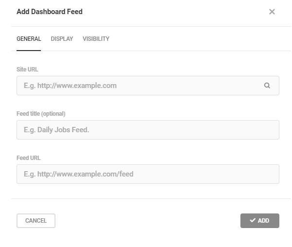 Screenshot of the add dashboard feed option where you input the site and feed URLs.