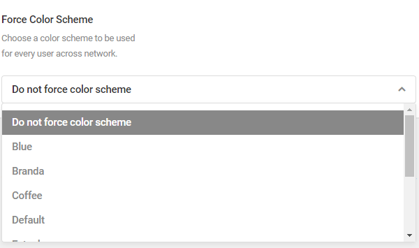 Screenshot of the force colour scheme option