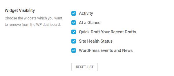 Screenshot of the widgets you can hide.