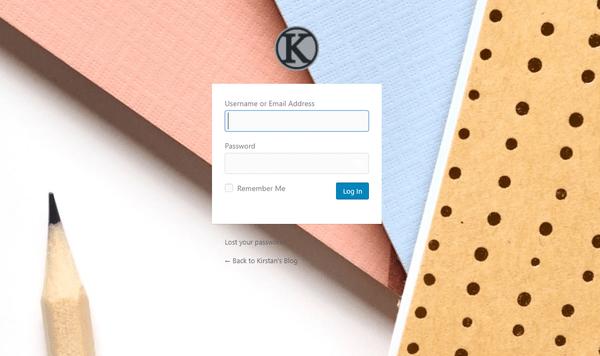 Screenshot of a custom login screen made using Branda and an image of some notepads.