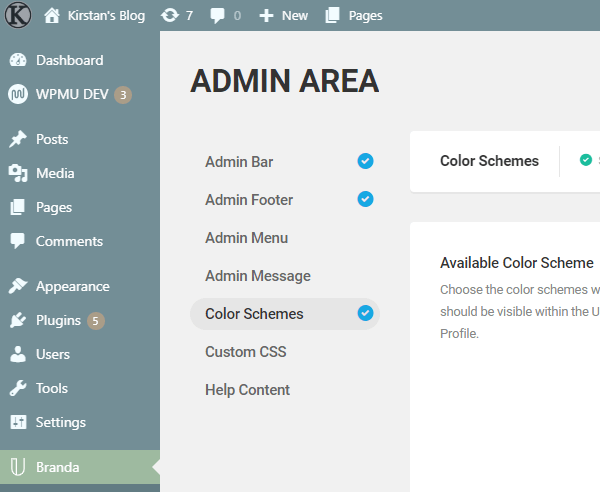 Screenshot of the admin area using the theme Ocean.