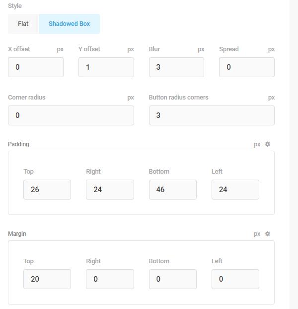 Screenshot of the padding and margin options