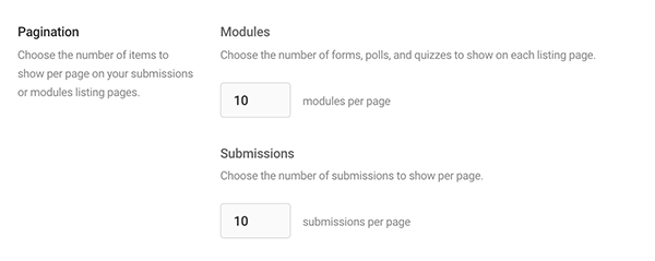 The pagination area where you indicate how many modules per page.