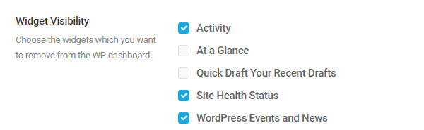 Screenshot of the widget visibility options showing that some of the widgets have been hiudden.