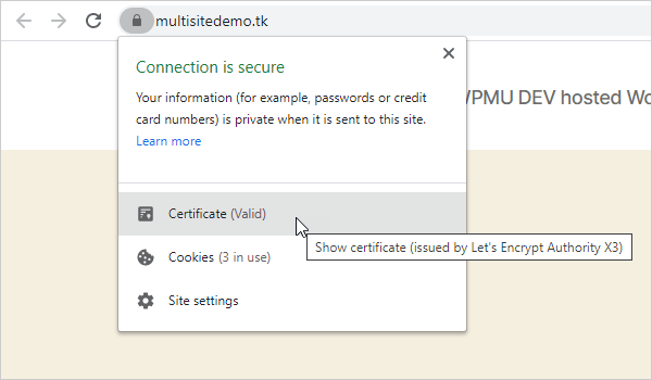 Check SSL certificate using your web browser.