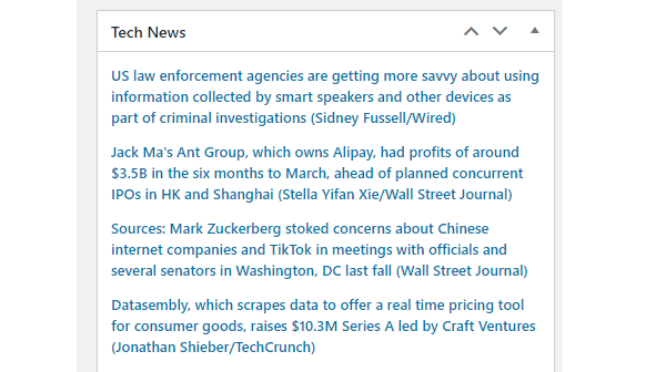 Screenshot of an example dashboard feed full of tech news.