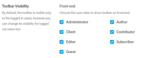 Screenshot of the tickboxes which alow you to hide the toolbar from different user roles.