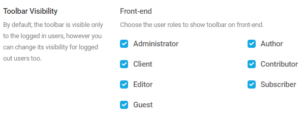 Screenshot of the options to set the toolbar visibility by user account.