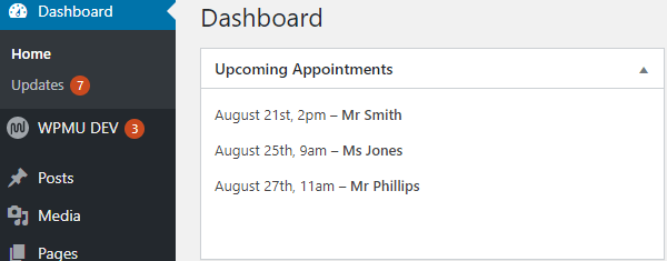 Screenshot of a custom widget showing some upcoming appointments.