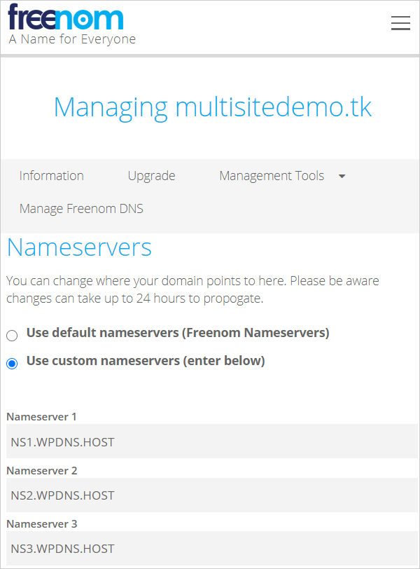 Update nameserver records