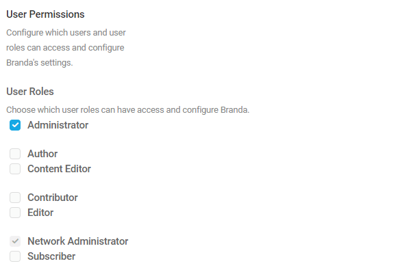 Screenshot of user permissions showing only admin ticked