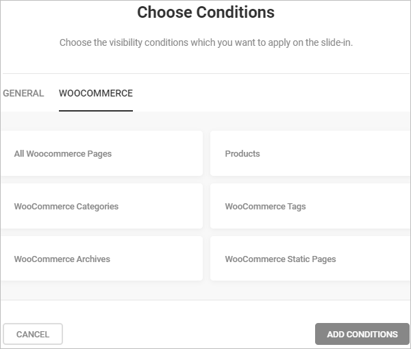 WooCommerce visibility conditions for slideins