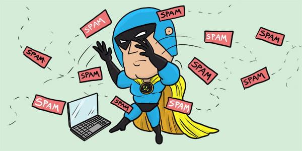 Dev Man swatting away spam.
