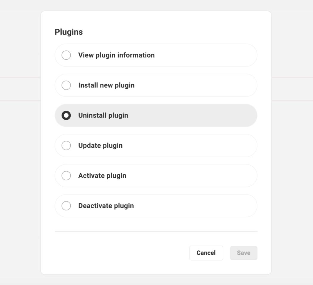 Plugin customization options
