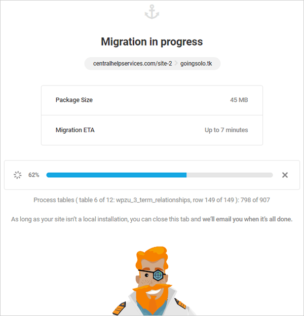 Shipper API Migration - Migration in Progress modal window