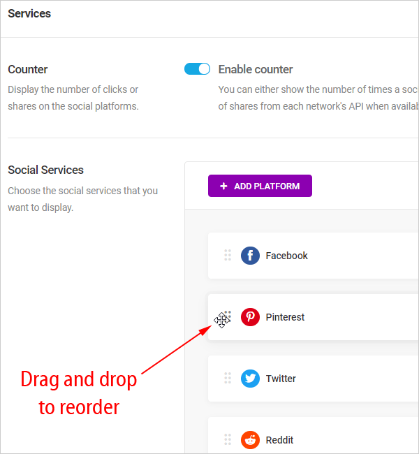 Reorder social platforms using drag and drop.