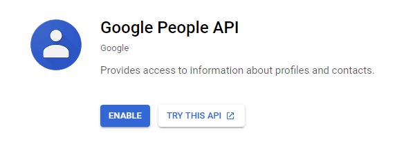 Screenshot of the Google People API.