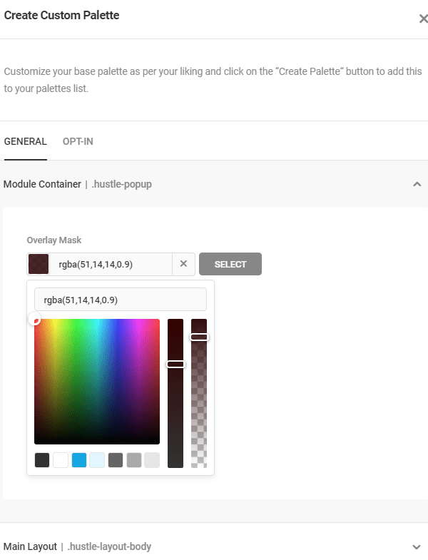 Hustle - Color Palette Settings screen.