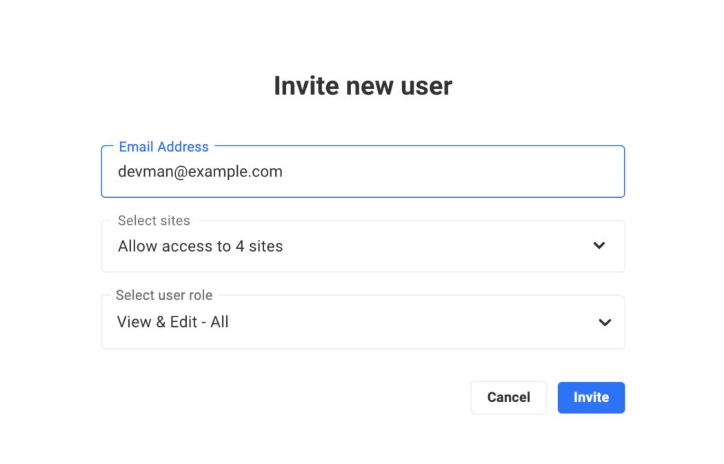 Where you'll invite a new user.