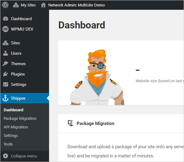 WordPress Multisite - Shipper menu.