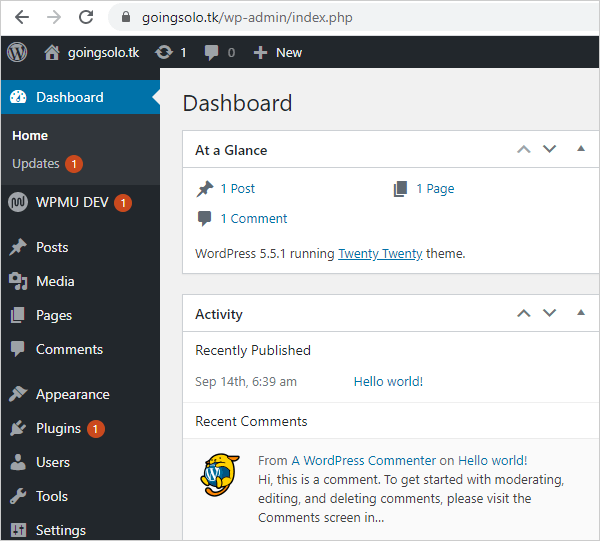 New WordPress install dashboard.