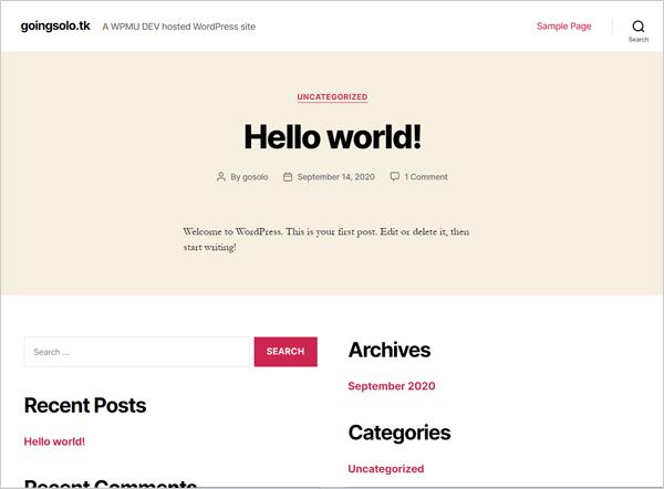 New WordPress install.