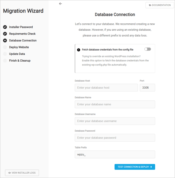 Package Migration Wizard screen.
