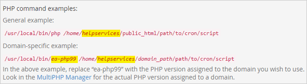 PHP command examples.