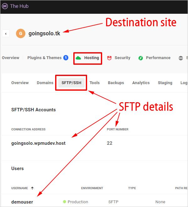 The Hub - Hosting - SFTP