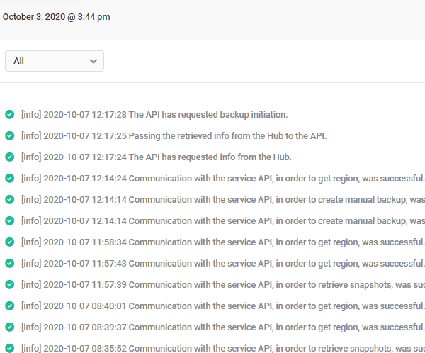 Screenshot of Snapshot's Logs