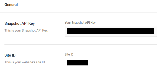 Screenshot of the settings menu showing the snapshot API key and site ID, which are both blanked out.