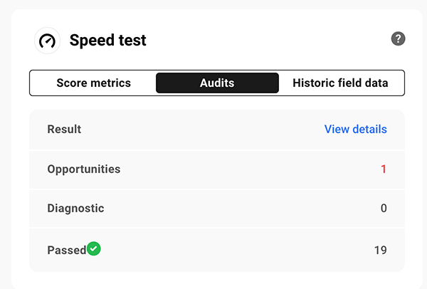 Speed test results.